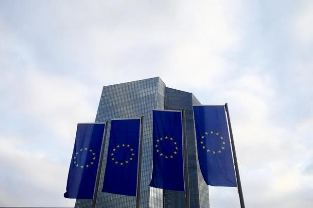 European Union (EU) flags fly in front of the European Central Bank (ECB) headquarters in Frankfurt, Germany, December 3, 2015. REUTERS/Ralph Orlowski/Files