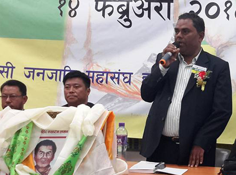 Federal Socialist Forum-Nepal Chairman Upendra Yadav speaks at a function in Hong Kong, on Sunday, February 14, 2016. Photo: Mahesh Chaurasiya