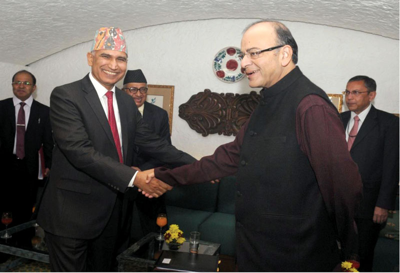 Finance Minister Bishnu Prasad Paudel exchanging greetings with his Indian counterpart Arun Jaitley, in New Delhi, on Monday. Photo: Courtesy Ministry of Finance, India