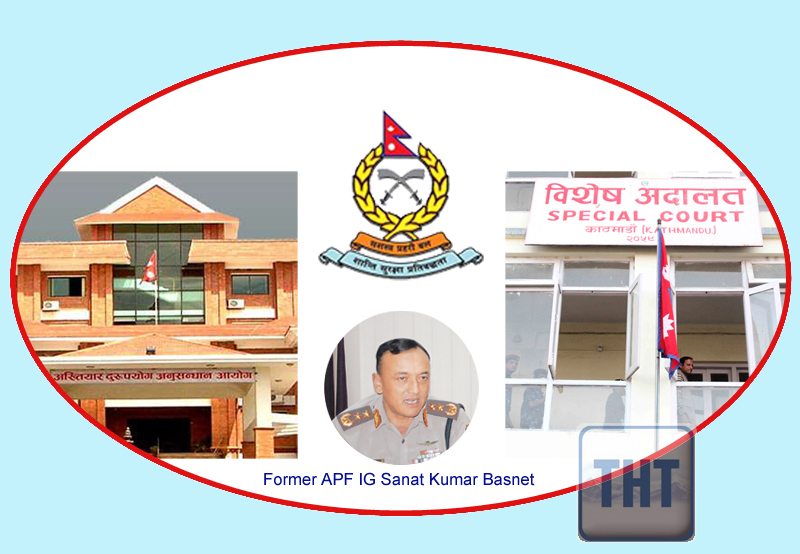 Former APF IG Sanat Kumar Basnet indicted on corruption charge on Monday, February 29, 2016.  Graphic: THT Online