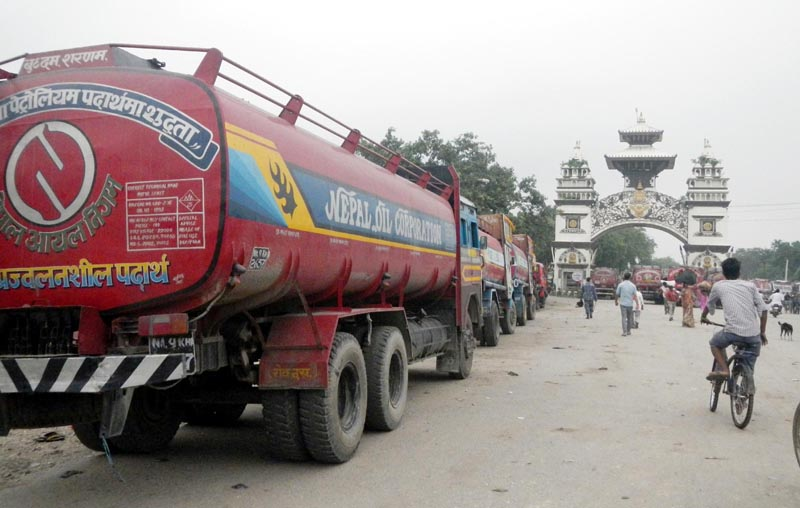Fuel-laden tankers are ready to enter Birgunj of Nepal from Raxaul, Bihar of India, on February 26, 2016. Photo: Ram Sarraf