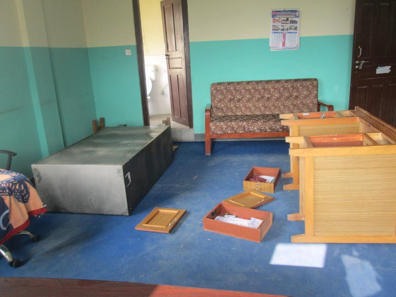 Vandalised desk of Gandaki Zonal Transport Office Section Officer Krishna Prasad Aryal, in Pokhara of Kaski, on Thursday, February 4, 2016. Photo: Rishi Ram Baral