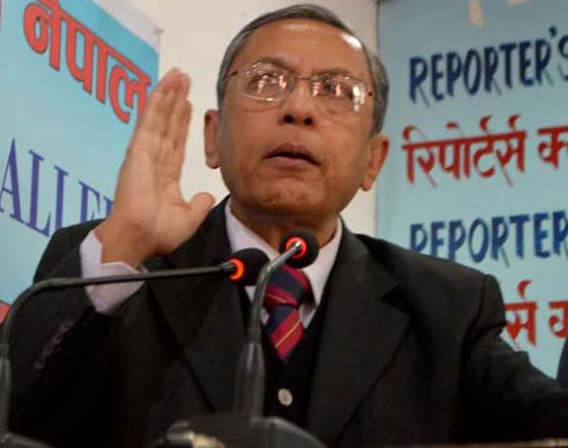 Indian Ambassador to Nepal Ranjit Rae speaking at an interaction organised at the Reporters' Club in the Capital on Wednesday, February 17, 2016. Photo: Reporters' Club