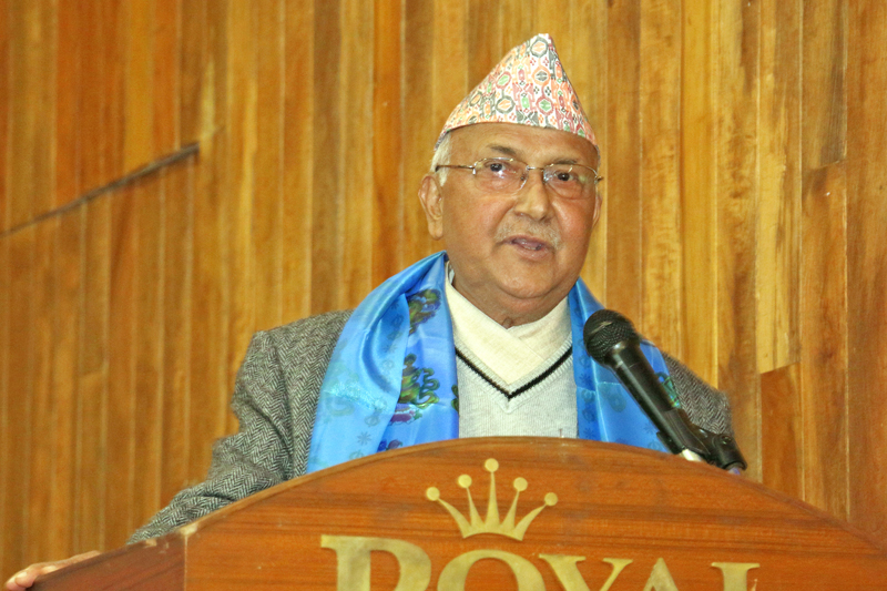 Prime Minister KP Sharma Oli speaking at a function organised by Press Chautari Nepal to mark its 18th anniversary in Kathmandu on Friday, February 5, 2016. Photo: RSS