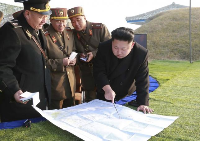 North Korean leader Kim Jong Un organizes and guides a combined joint drill of the units under KPA Combined Units 572 and 630 in this undated file photo released by North Korea's Korean Central News Agency (KCNA) in Pyongyang November 23, 2014. REUTERS/KCNA/Files