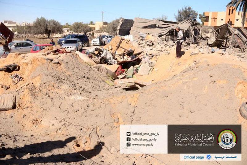 The site where US warplanes struck an Islamic State training camp in Sabratha, Libya near the Tunisian border, on Friday, February 19, 2016. Photo: Sabratha Municipal Council via AP