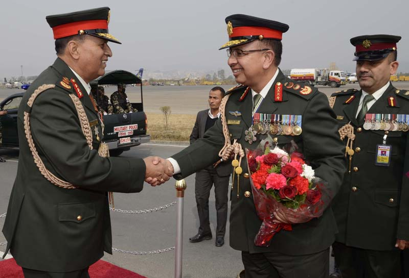 Lieutenant General Baldev Raj Mahat welcomes Chief of Army Staff Rajendra Chhetri, who returned home today completing an official visit to India, at the Tribhuvan International Airport, in Kathmandu, on Saturday, February 6, 2016. Photo: NA DPR
