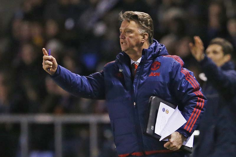 Manchester United manager Louis van Gaal during their match against Shrewsbury Town in the FA Cup Fifth Round at the Greenhous Meadow on February 22, 2016. Photo: Action Images via Reuters