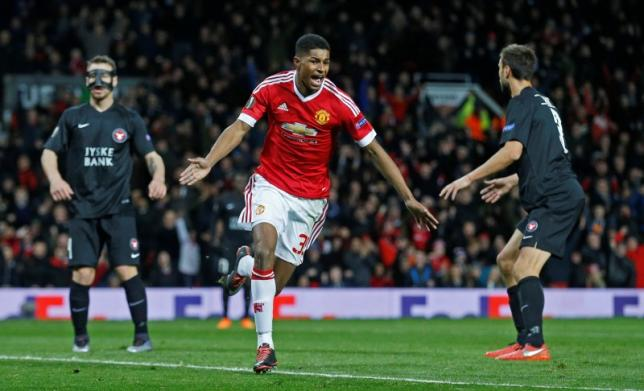 Marcus Rashford celebrates scoring the second goal for Manchester UnitednReuters / Russell CheynenLivepic
