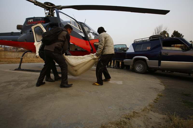 Mortal remains of Tara Air plane crash victims are brought to the Tribhuvan University Teaching Hospital for handing over to the kin, in Kathmandu, on Thursday, February 25, 2016. Photo: Skanda Gautam