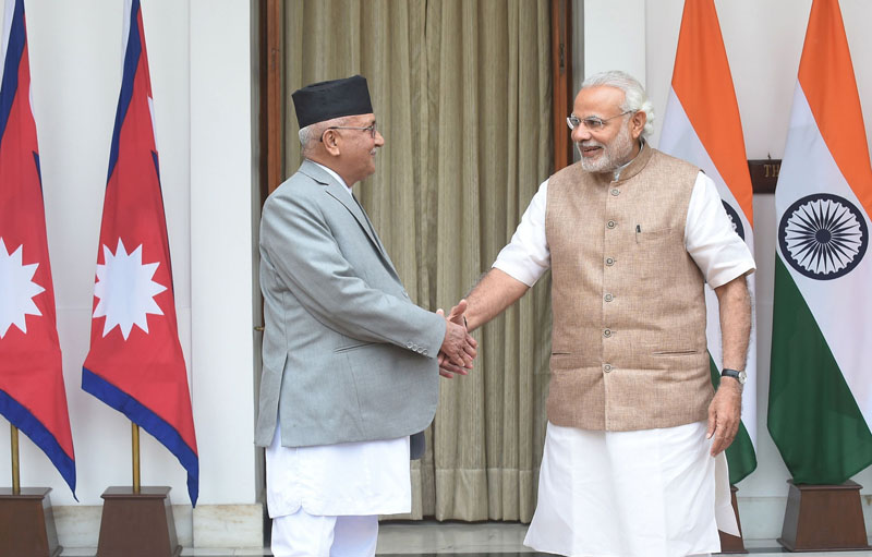 Prime Minister KP Sharma Oli shaking hands with Indian Prime Minister Narendra Modi prior to delegation level talks and agreement signing, in Hyderabad House, New Delhi, on Saturday. Oli is on a six-day visit to India. Photo: AFP