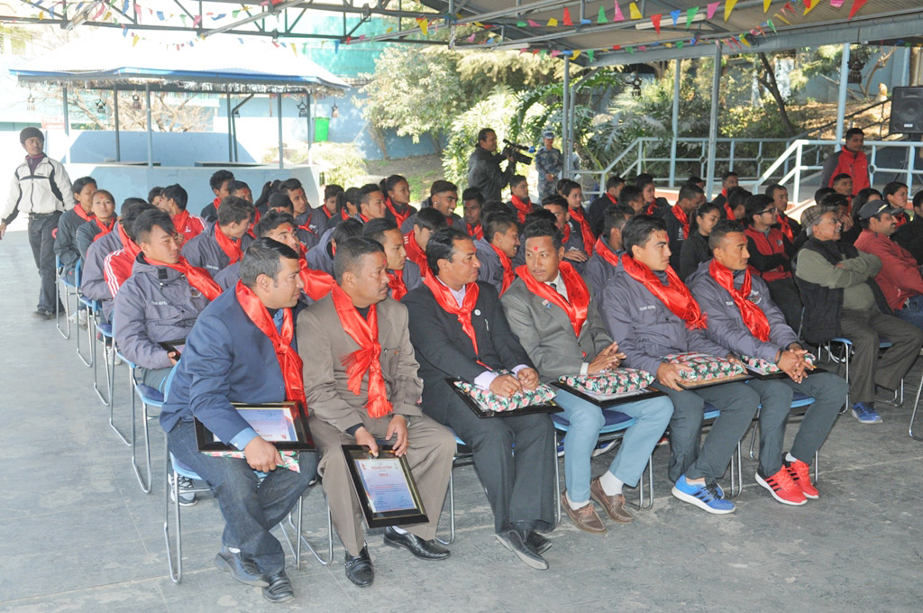 Nepal national football team players and officials after being felicitated by Nepal Armed Police Force in Kathmandu on Monday. Photo: THT