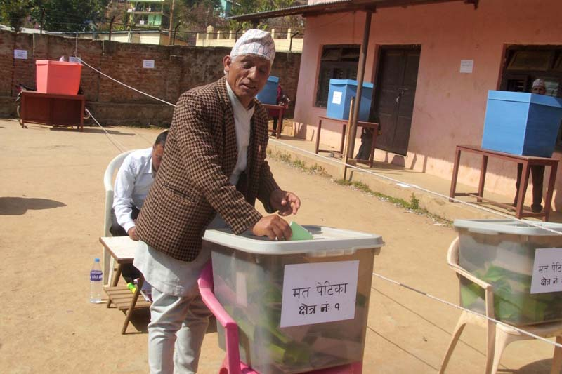 A Nepali Congress member casting his vote during the district elections of the party in Phidim of Panchthar, on Sunday, February 14, 2016. Photo: Laxmi Gautam/ THT