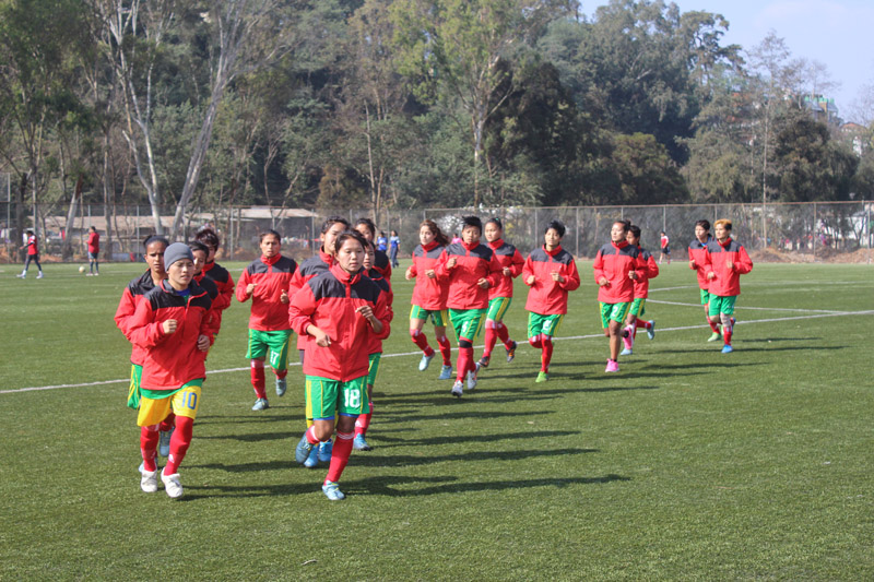 Nepali women footballers taking part in a team training session in Shillong on Sunday, on the eve of their final match in the 12th South Asian Games, against India.