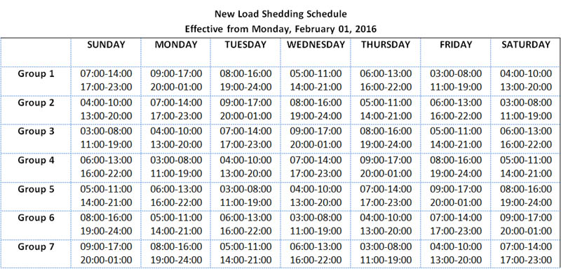 New load shedding schedule effective from February 1, 2016.