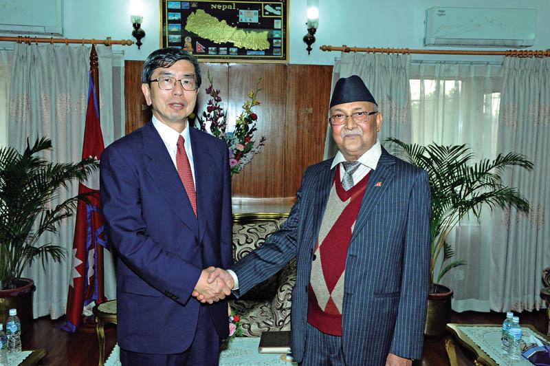 Prime Minister KP Sharma Oli exchanging greetings with Asian Development Bank nPresident Takehiko Nakao, in Kathmandu, on Thursday. Photo Courtesy: ADB