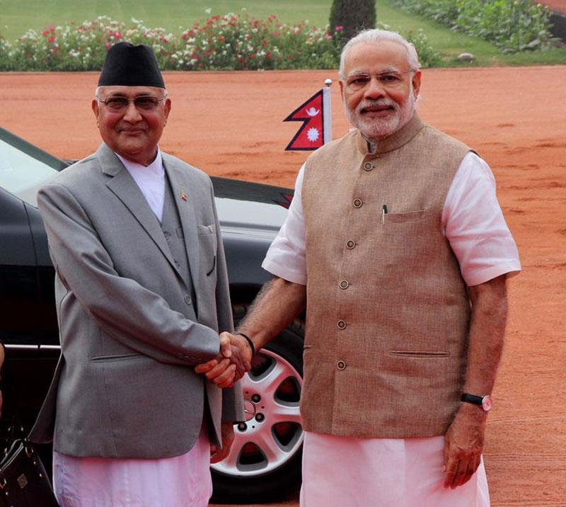 Indian Prime Minister Narendra Modi receives his Nepali counterpart KP Sharma Oli at the Rastrapati Bhawan in India on Saturday, February 20, 2016. Photo Courtesy: MEA India