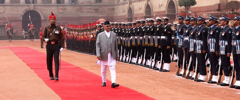 Prime Minister KP Sharma Oli passes a troop as he receives the guard of honour during his state visit to India, in New Delhi, on Saturday, February 20, 2016. Photo: MEA India