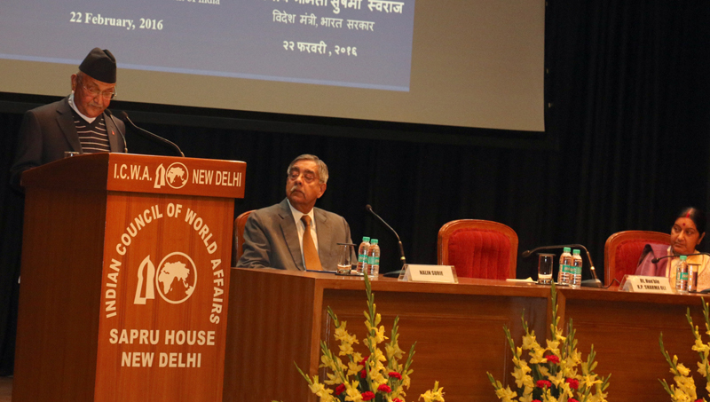 Prime Minister KP Sharma Oli addresses a function organised by the Indian Council of World Affairs in New Delhi, on India, on Monday, February 22, 2016. Photo: RSS