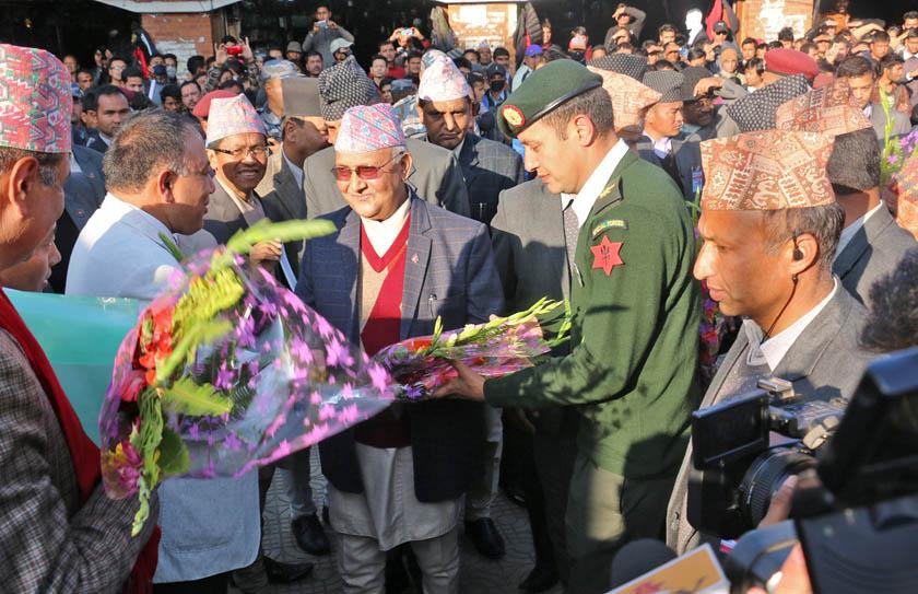 PM Oli arrives at Dharahara. Photo: RSS