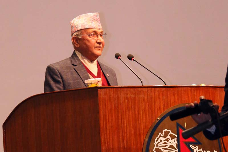 Prime Minister KP Sharma Oli speaks at a Legislature-Parliament meeting briefing about his upcoming India visit in Kathmandu, on Tuesday, February 16, 2016. Photo: RSS