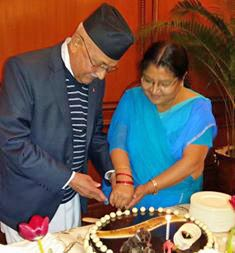 Prime Minister KP Sharma Oli and his spouse Radhika Shakya cutting cake on the occasion of Oli's 65th birthday at the Hotel Taj in New Delhi on Monday,  February 22, 2016. PM Oli is currently on a state visit to India. Photo: RSS