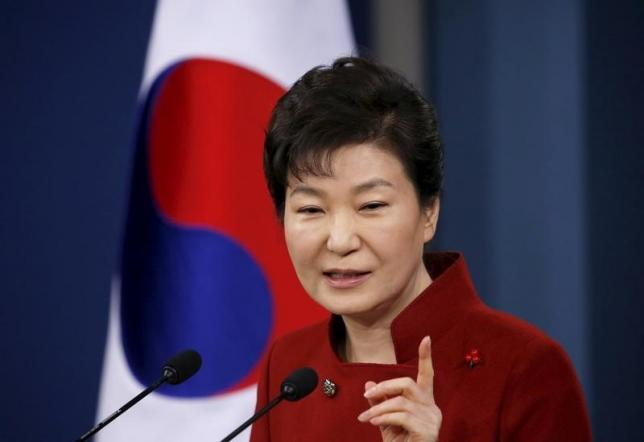 South Korean President Park Geun-hye answers questions from reporters during her New Year news conference at the Presidential Blue House in Seoul, South Korea, January 13, 2016.  REUTERS/Kim Hong-Ji/Files