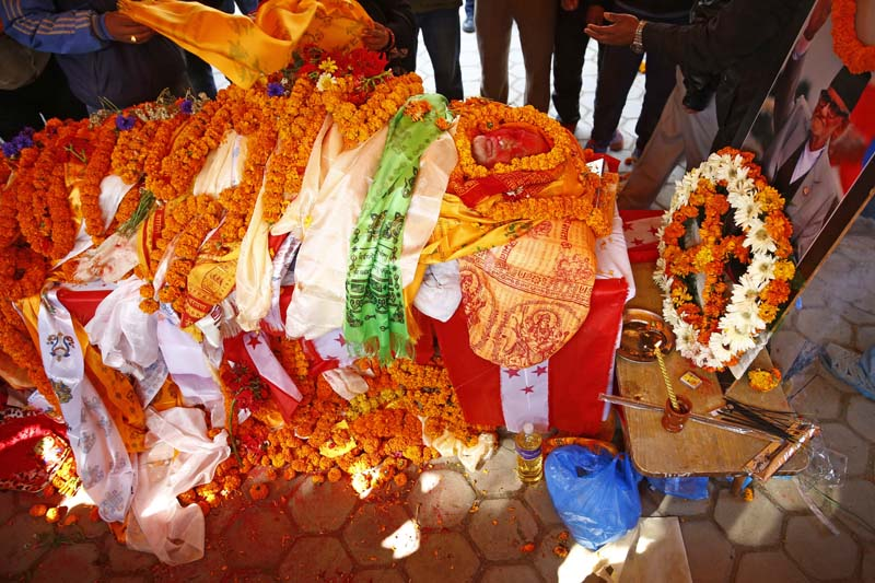 People pay homage on the body of late Nepali former Prime Minister and Nepali Congress President Sushil Koirala in Sanepa, on Tuesday, February 9, 2016. Photo: Skanda Gautam/ THT