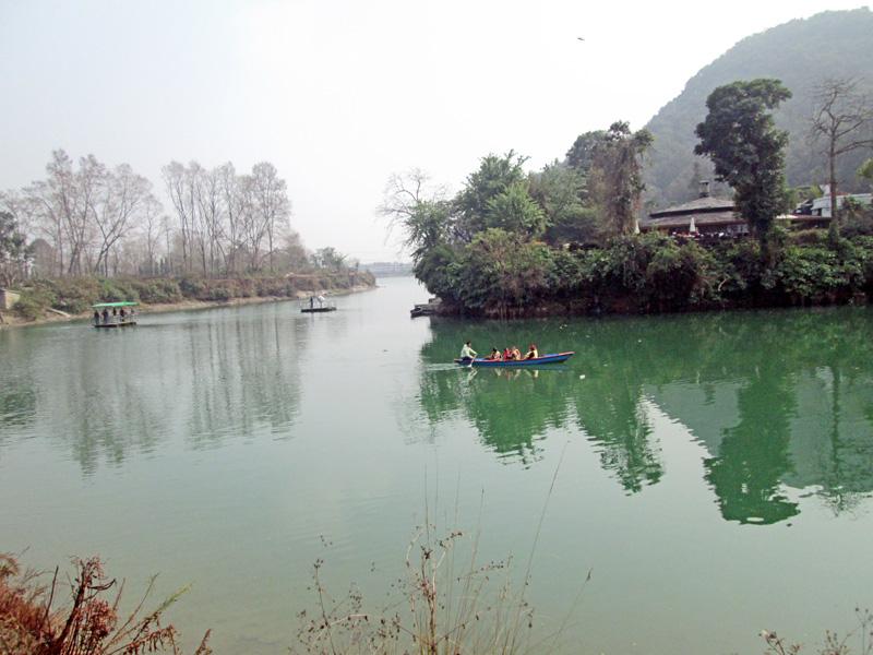 Tourists enjoy boating at the Phewa Lake in Pokhara on Tuesday, February 2, 2016. Photo: Rishi Ram Baral