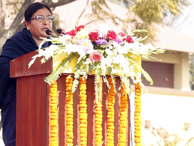 President Bidya Devi Bhandari addresses a function organised to see off participants of the 12th South Asian Games, in Kathmandu, on Monday, February 1, 2016. Photo: RSS