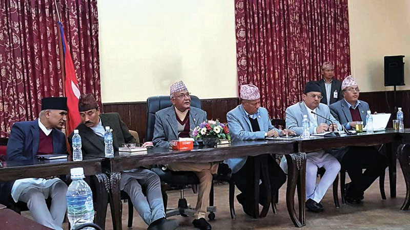 Prime Minister KP Sharma Oli and Cabinet ministers in a meeting with representatives of the private sector, in Kathmandu, on Thursday. Photo: Courtesy FNCCI