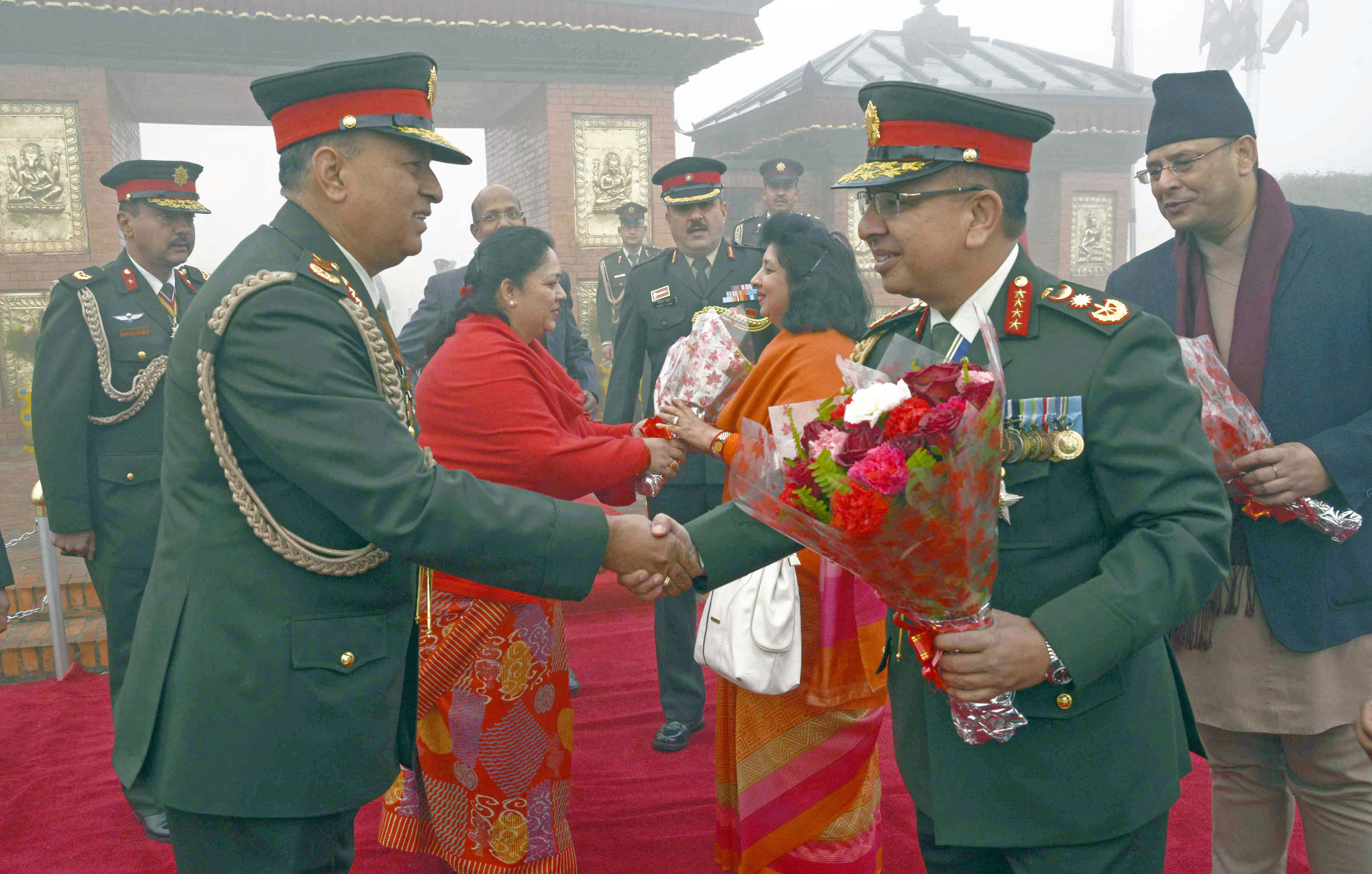 Lieutenant General Baldev Raj Mahat sees off the Chief of Nepal Army Rajendra Chhetri, who embarked on an official visit to India, at the Tribhuvan International Airport in Kathmandu on Monday, February 1, 2016. Photo: RSS