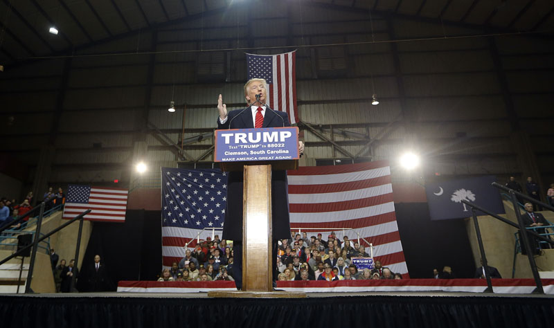 Republican presidential candidate Donald Trump speaks during a rally at Clemson University, on Wednesday, February 10, 2016, in Pendleton, S.C. Photo: AP