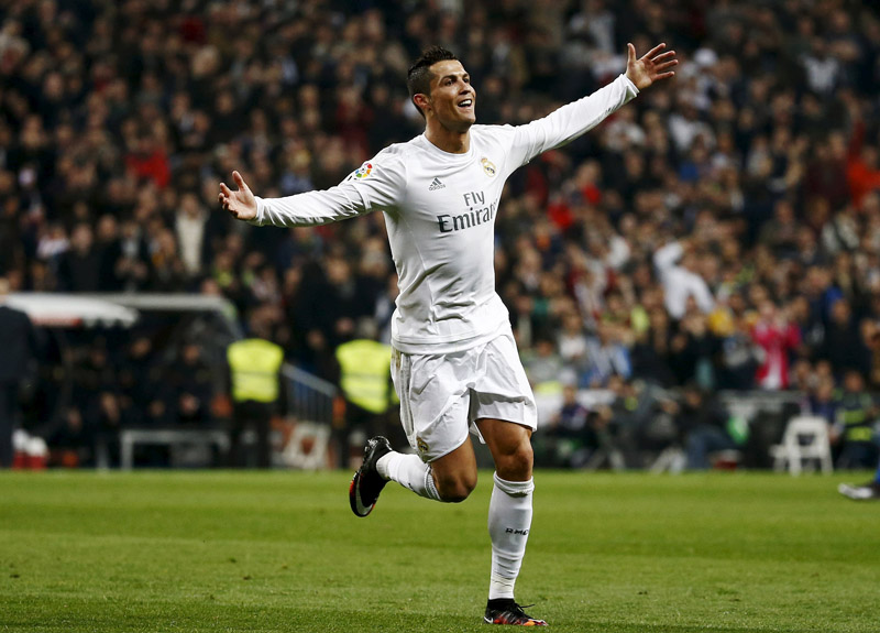 Real Madrid's Cristiano Ronaldo celebrates his second goal against Espanyol during the Spanish League match at the Santiago Bernabeu Stadium in Madrid on Sunday. Real won the match 6-0. Photo: Reuters