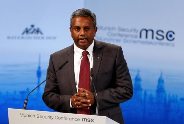Salil Shetty, Secretary General of Amnesty International, speaks at the Munich Security Conference in Munich, Germany, February 14, 2016.  REUTERS/Michael Dalder