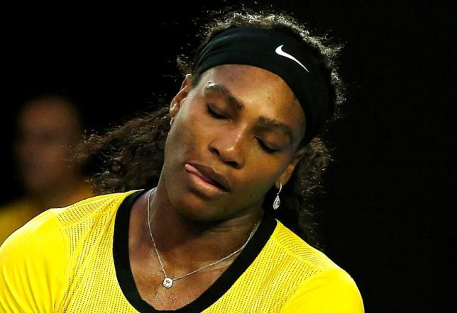 Serena Williams reacts during her final match against Angelique Kerber, January 30, 2016. Photo: Reuters