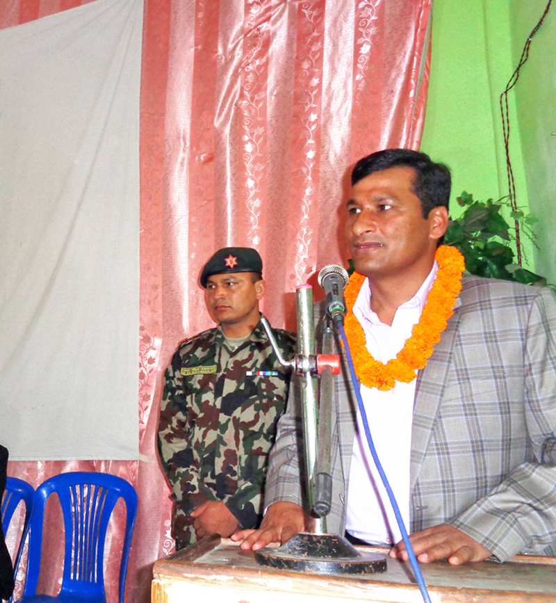 Home Minister Shakti Bahadur Basnet speaking at a function in Pokhara on Sunday, February 28, 2016. Photo: RSS
