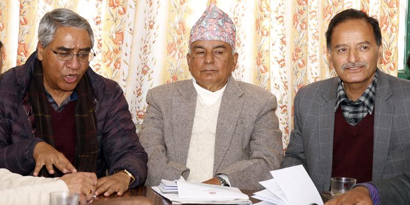 (From left) Nepali Congress senior leader Sher Bahadur Deuba, acting President Ram Chandra Paudel and General Secretary Krishna Prasad Sitaula at a party meeting, in Kathmandu, on Sunday, February 14, 2016. Photo: RSS
