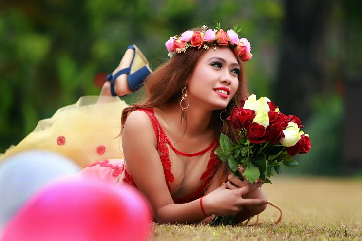 With Valentines Day round the corner, model Shritika Gurung posing for a photograph during a photo session at the Fishtail Lodge in Pokhara on Thursday, February 11, 2016. Photo: Sooraz Shrestha