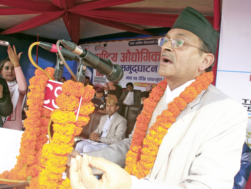 Minister for Industry Som Prasad Pandey addressing a function of Chitwan Industrial Exhibition in Chitwan, on Monday, February 8, 2016. Photo: RSS