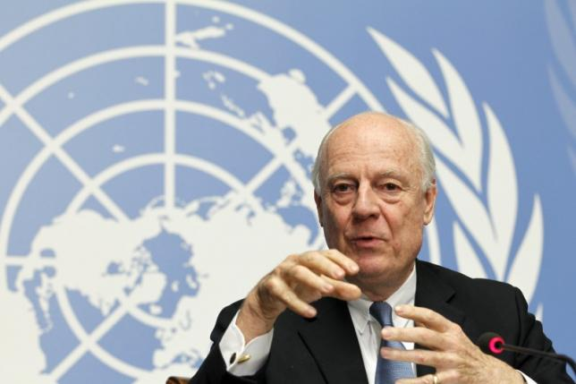United Nations Special Envoy for Syria Staffan de Mistura speaks to the media during a news conference after briefing the Security Council in Geneva, Switzerland, early February 27, 2016. REUTERS/Pierre Albouy