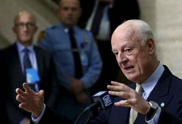 U.N. mediator for Syria Staffan de Mistura gestures during a news conference after a meeting with the Syrian High Negotiations Committee (HNC) during the peace talks at the United Nations in Geneva, Switzerland, February 1, 2016. REUTERS/Denis Balibouse