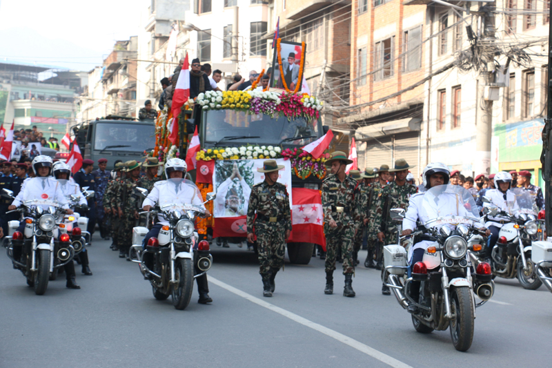 Former Prime Minister Sushil Koirala's funeral procession reaches Thapathali of Kathmandu, on Wednesday, February 10, 2016. Photo: RSS
