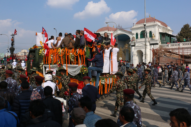 Former Prime Minister Sushil Koirala's funeral procession reaches the front gate of Singha Darbar of Kathmandu, on Wednesday, February 10, 2016. Photo: RSS