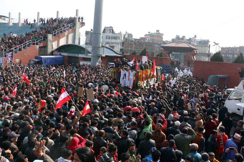 The funeral procession of former Prime Minister Sushil Koirala leaves the Dasharath Stadium, Tripureshwor, Kathmandu, on Wednesday, February 10, 2016. Photo: RSS