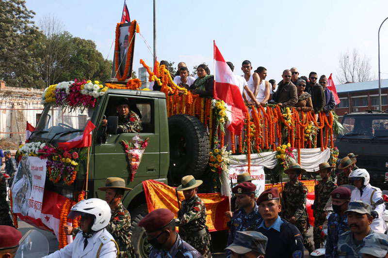 Sushil Koirala's funeral procession reaches Singha Darbar. Photo: RSS
