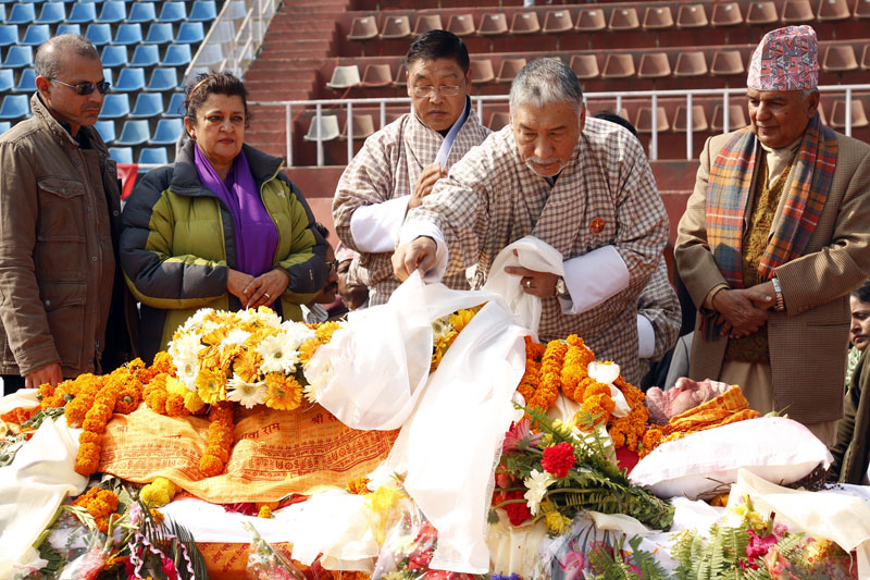 Bhutan's minister pay homage to Sushil Koriala. Photo: RSS