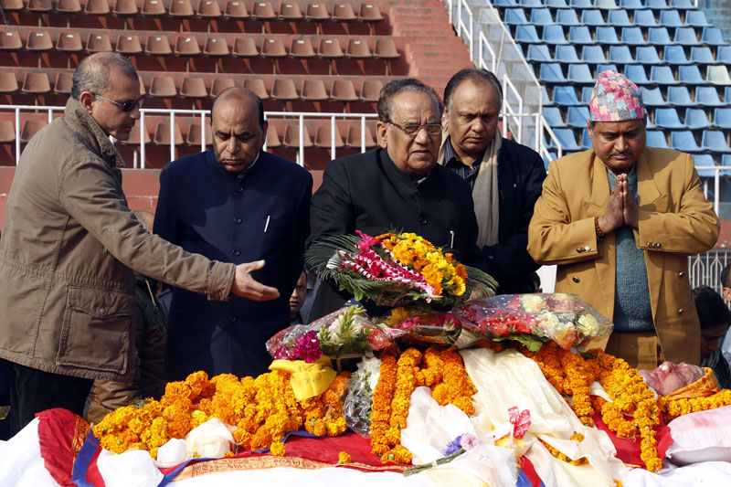 Dignitaries pay final tribute to Sushil Koirala at the Dasharath Stadium, on Wednesday, February 10, 2016. Photo: RSS