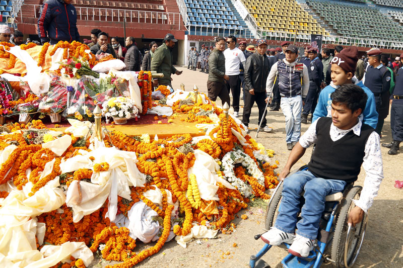 Hundreds of people paid homage to Koirala at Dasharath Stadium where his body was kept for public viewing. Photo: RSS