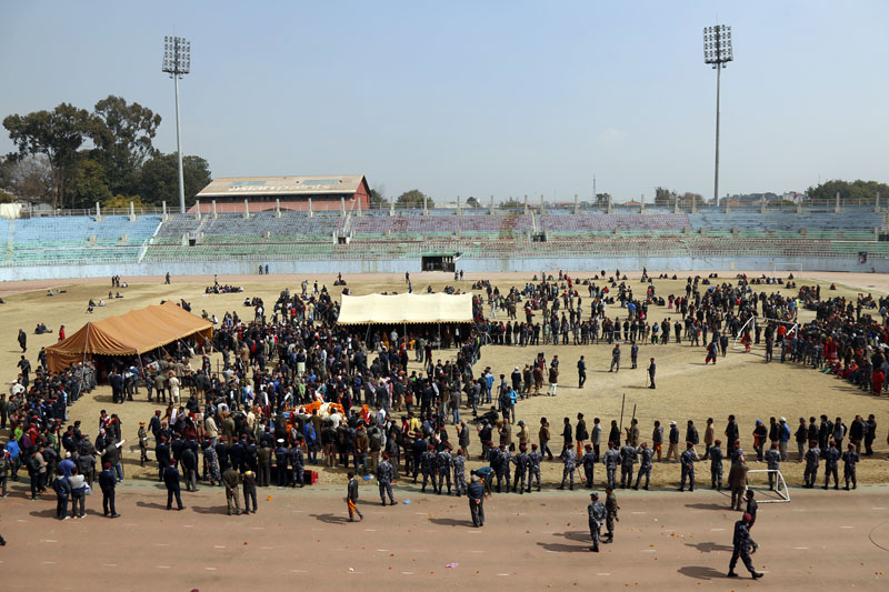 Nepal Army troops prepare for the funeral procession. Photo: RSS